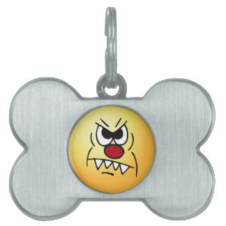 Scary Smiley Face Grumpey Pet Tag