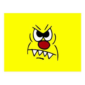 Scary Smiley Face Grumpey Postcard