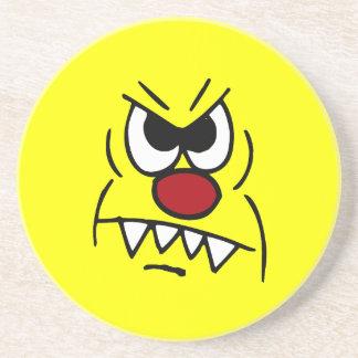 Scary Smiley Face Grumpey Sandstone Coaster