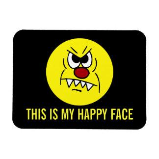 Scary Smiley Face Grumpey Vinyl Magnet