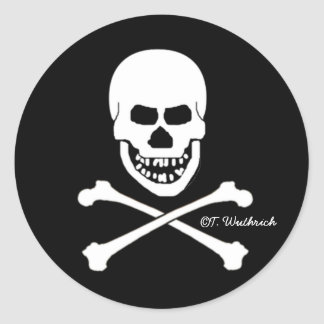 Scary Smiling Skull Halloween Sticker