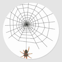 Scary spider web classic round sticker