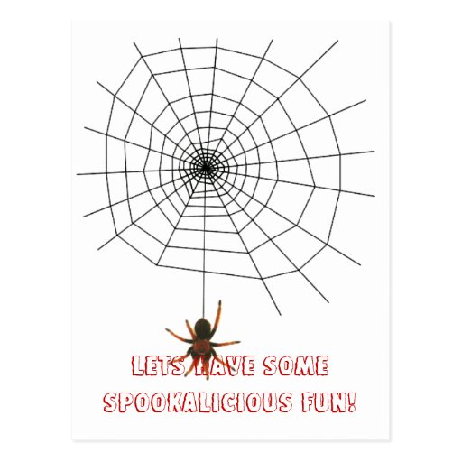 Scary spider web postcard