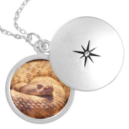 Scary Spotted Rattlesnake Round Locket Necklace