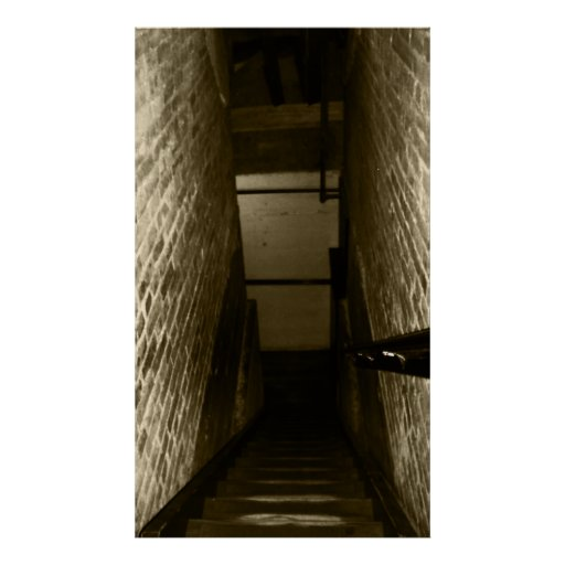 Scary Stairwell Going Down Creepy Halloween Props Poster
