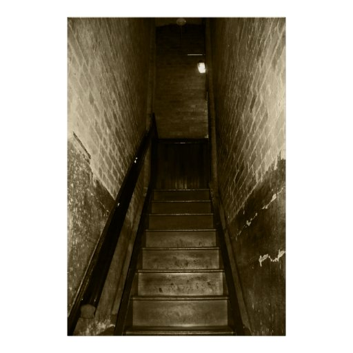 Scary Stairwell Going Up Creepy Halloween Props Print