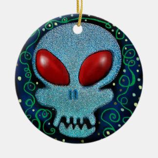 Scary Sunday Skull Ceramic Ornament