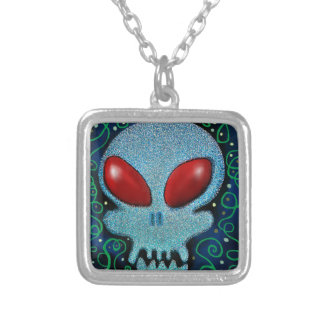 Scary Sunday Skull Silver Plated Necklace