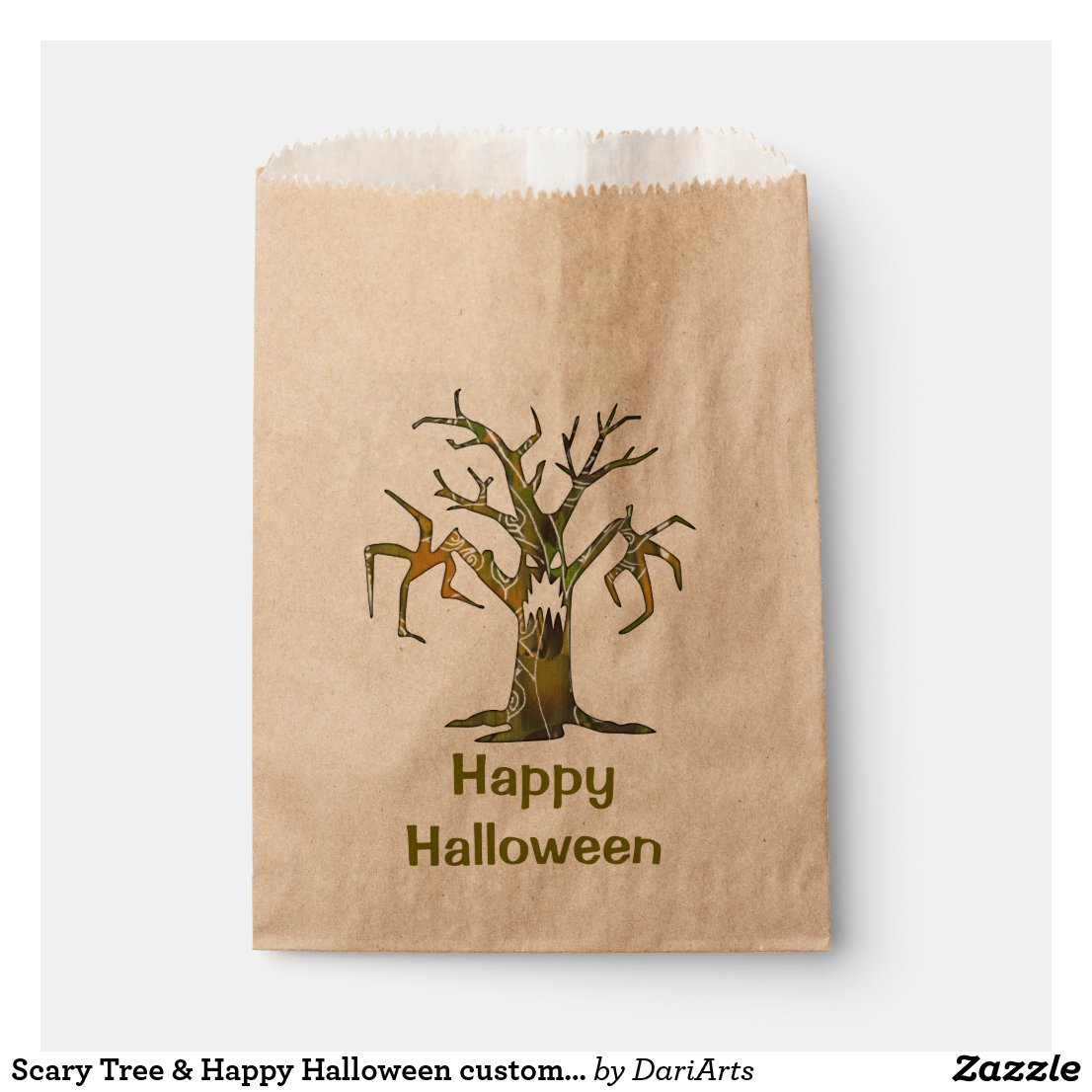 Scary Tree & Happy Halloween custom favor bag