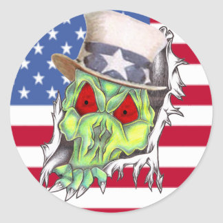Scary Uncle Sam Ripping Through A Flag Sticker