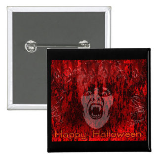 Scary Vampire Lady in Blood Button