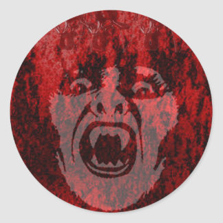 Scary Vampire Lady in Blood Round Sticker