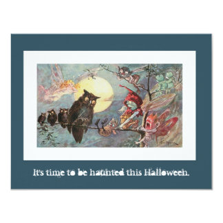 Scary Vintage Owls and Fairies - Halloween Party 4.25x5.5 Paper Invitation Card