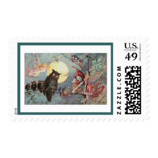 Scary Vintage Owls and Fairies - Maybank Halloween Postage Stamps