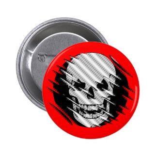 Scary Wavey Skull Pinback Button