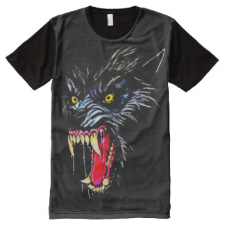 Scary Werewolf Dark Horror Airbrush Art All-Over-Print T-Shirt
