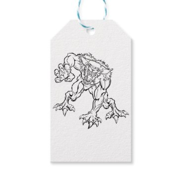 Halloween Themed Scary Werewolf  Monster Character Gift Tags