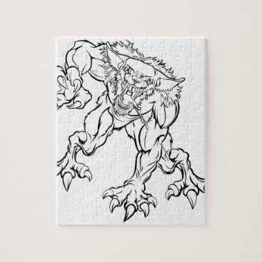 Halloween Themed Scary Werewolf  Monster Character Jigsaw Puzzle