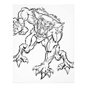 Halloween Themed Scary Werewolf  Monster Character Letterhead
