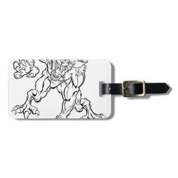 Halloween Themed Scary Werewolf  Monster Character Luggage Tag