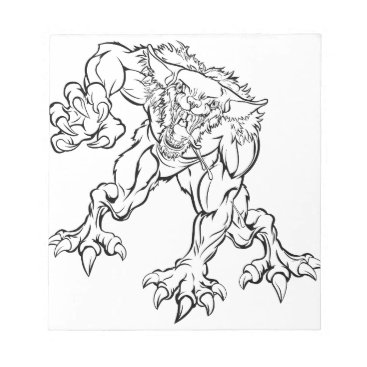 Halloween Themed Scary Werewolf  Monster Character Notepad