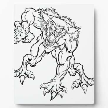Halloween Themed Scary Werewolf  Monster Character Plaque