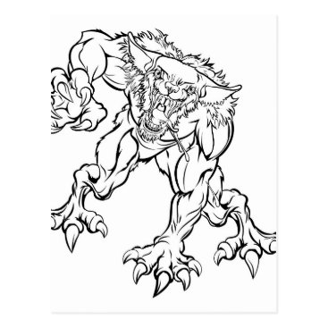 Halloween Themed Scary Werewolf  Monster Character Postcard