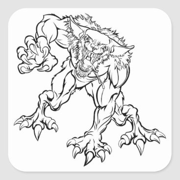 Halloween Themed Scary Werewolf  Monster Character Square Sticker