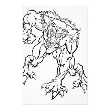 Halloween Themed Scary Werewolf  Monster Character Stationery