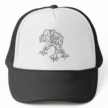 Halloween Themed Scary Werewolf  Monster Character Trucker Hat