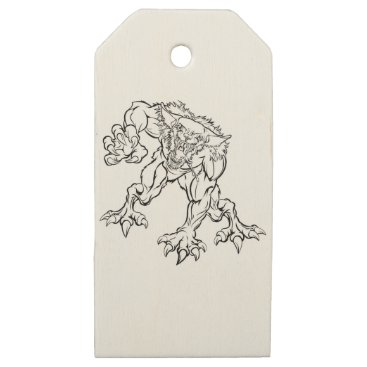 Halloween Themed Scary Werewolf  Monster Character Wooden Gift Tags
