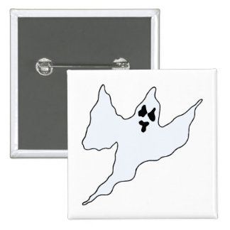 scary white ghost mean arms up pinback button