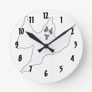 scary white ghost mean arms up round wall clock