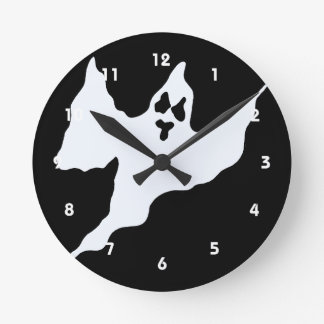 scary white ghost mean arms up round wallclock
