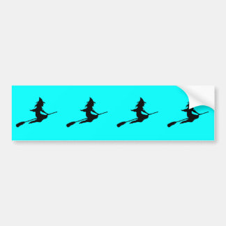 Scary Witch and Broom Bumper Sticker