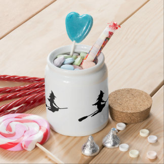 Scary Witch and Broom Candy Jars