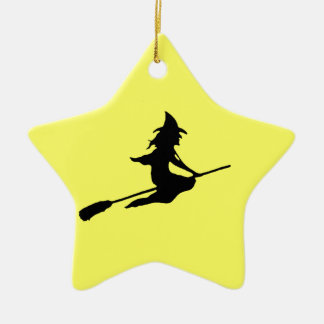 Scary Witch and Broom Ceramic Ornament