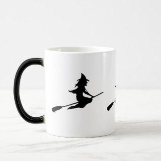 Scary Witch and Broom Mug