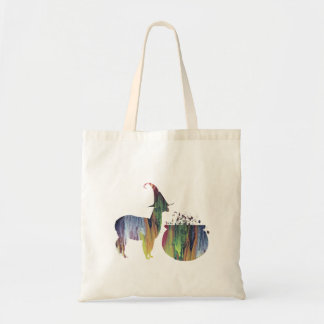 Scary witch llama tote bag