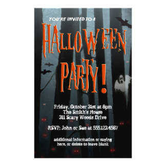 Scary Woods Halloween Party Flyer