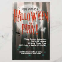 Scary Woods Halloween Party Invitation