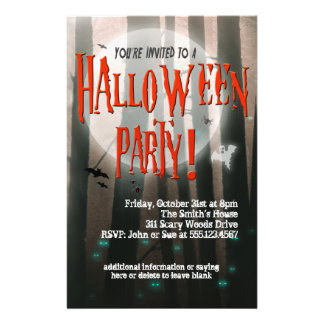 """Scary Woods Halloween Party Invitation 5.5"""" X 8.5"""" Flyer"""