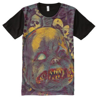 Scary Zombie Horror Doll With Skulls Dark Art All-Over-Print T-Shirt
