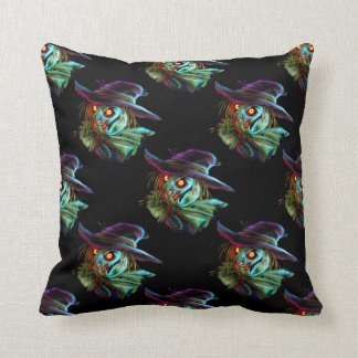 ScaryCrow Scarecrow with glowing eyes Pillow