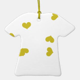SCATTER04 ORANGE HEARTS RANDOM SCATTERED GIRLY LOV Double-Sided T-Shirt CERAMIC CHRISTMAS ORNAMENT