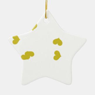 SCATTER04 ORANGE HEARTS RANDOM SCATTERED GIRLY LOV Double-Sided STAR CERAMIC CHRISTMAS ORNAMENT