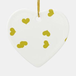 SCATTER04 ORANGE HEARTS RANDOM SCATTERED GIRLY LOV Double-Sided HEART CERAMIC CHRISTMAS ORNAMENT