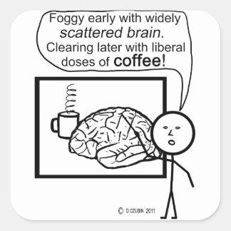 Scatter Brain Coffee Square Sticker