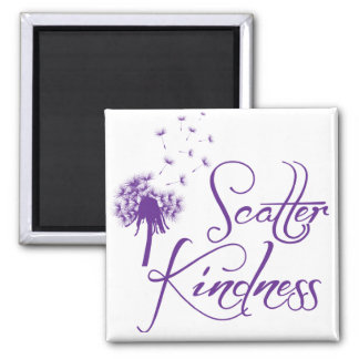 Scatter Kindness, purple 2 Inch Square Magnet