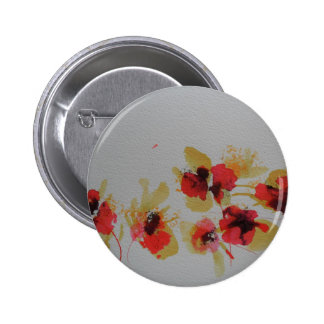 Scatter of scarlet red poppy flowers pinback button